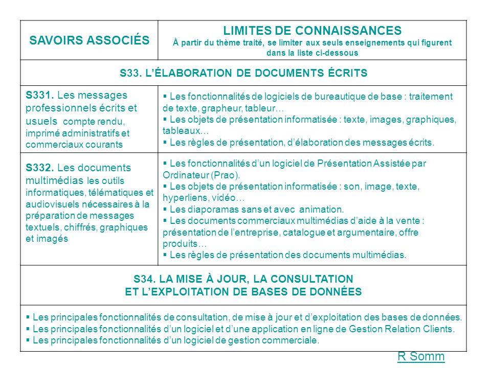 SAVOIRS ASSOCIÉS LIMITES DE CONNAISSANCES À partir du thème traité, se limiter aux seuls enseignements qui figurent dans la liste ci-dessous S33. LÉLA