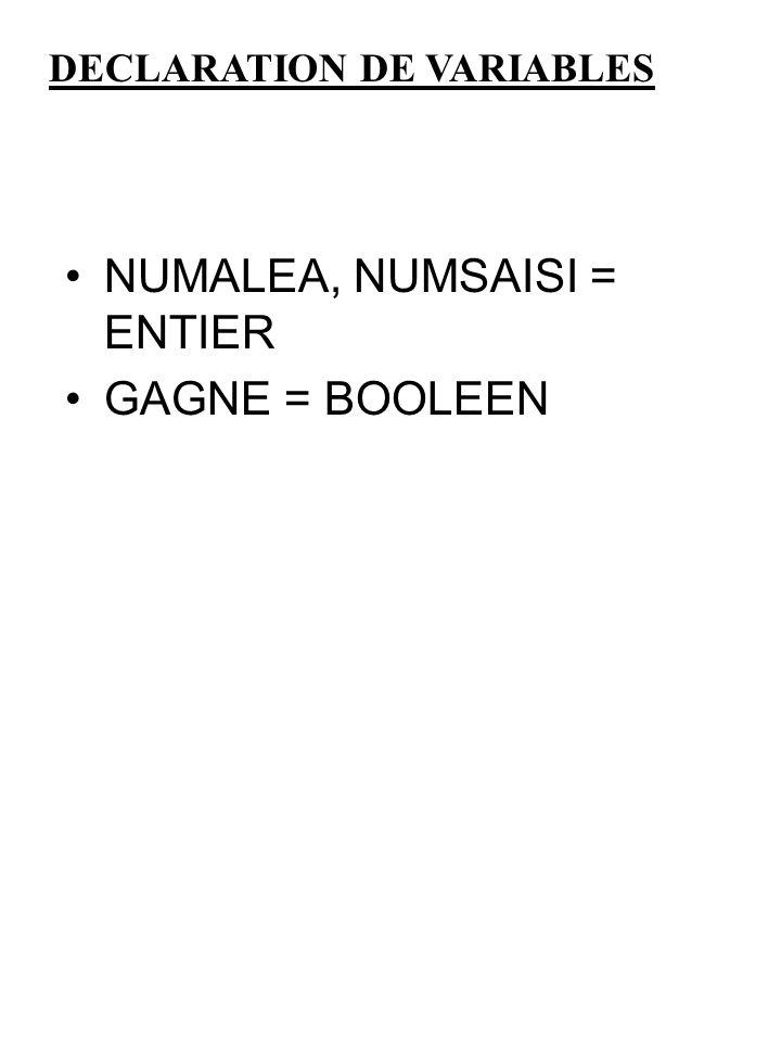 NUMALEA, NUMSAISI = ENTIER GAGNE = BOOLEEN DECLARATION DE VARIABLES