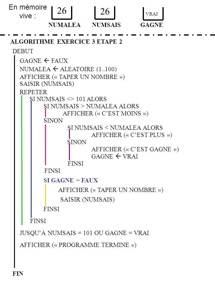 En mémoire vive : ALGORITHME EXERCICE 3 ETAPE 2 DEBUT NUMALEA FIN NUMSAIS 26 GAGNE AFFICHER (« TAPER UN NOMBRE ») SAISIR (NUMSAIS) SI GAGNE = FAUX FIN