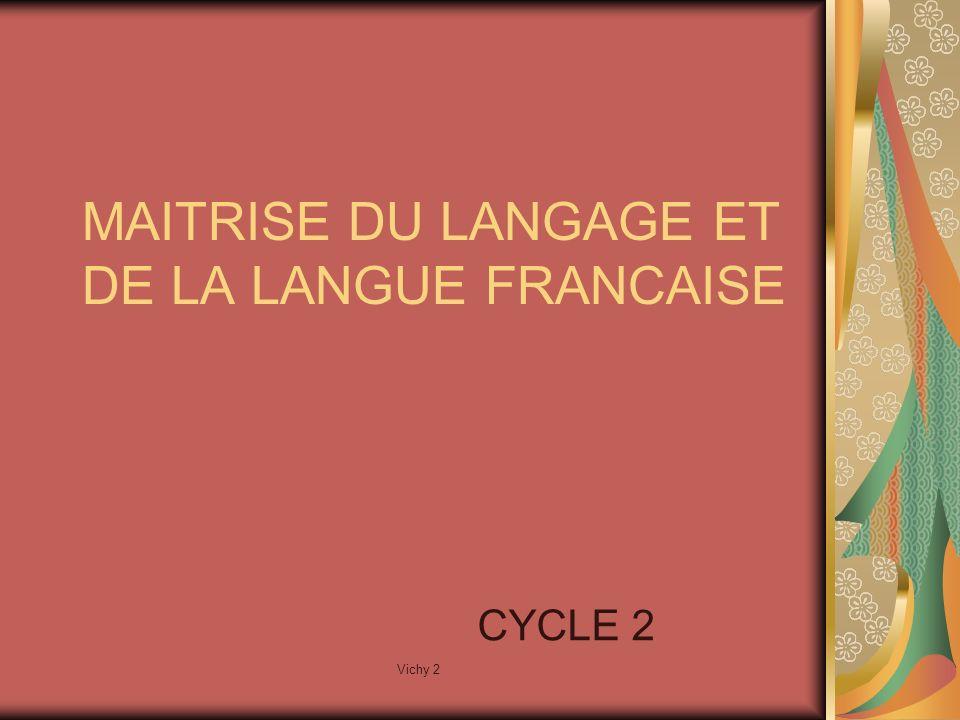 Vichy 2 MAITRISE DU LANGAGE ET DE LA LANGUE FRANCAISE CYCLE 2