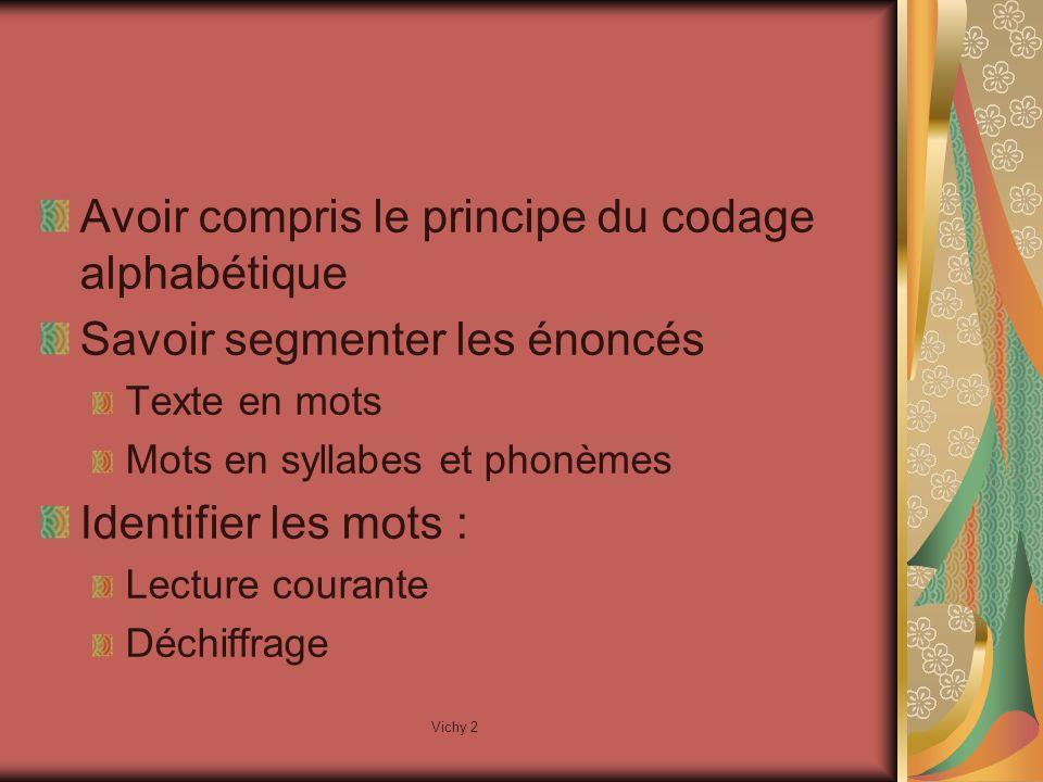 Vichy 2 Avoir compris le principe du codage alphabétique Savoir segmenter les énoncés Texte en mots Mots en syllabes et phonèmes Identifier les mots : Lecture courante Déchiffrage