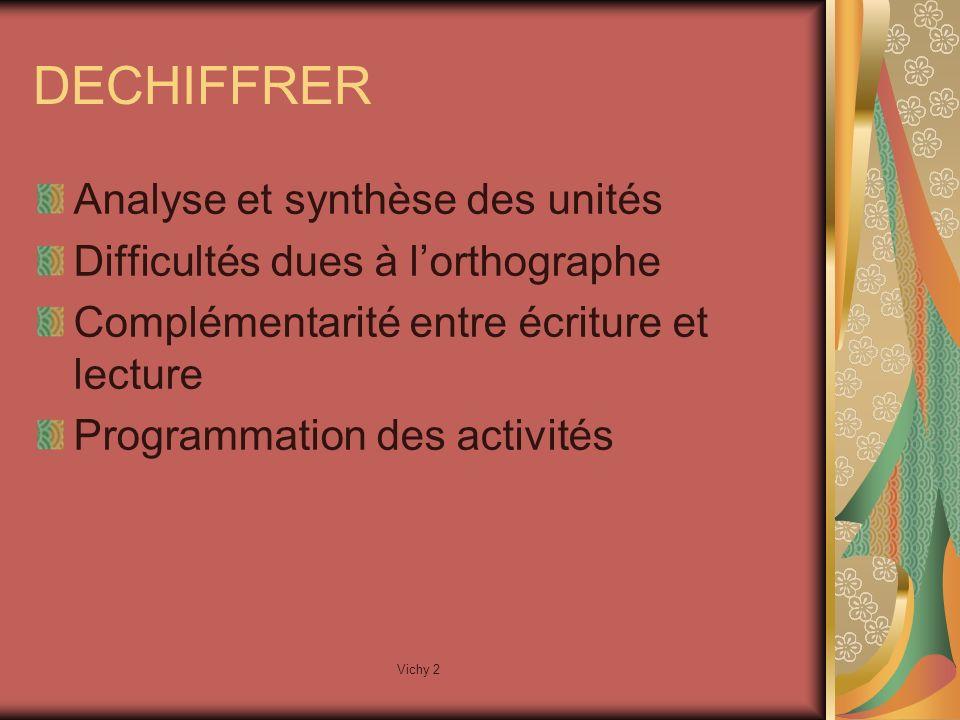 Vichy 2 DECHIFFRER Analyse et synthèse des unités Difficultés dues à lorthographe Complémentarité entre écriture et lecture Programmation des activités