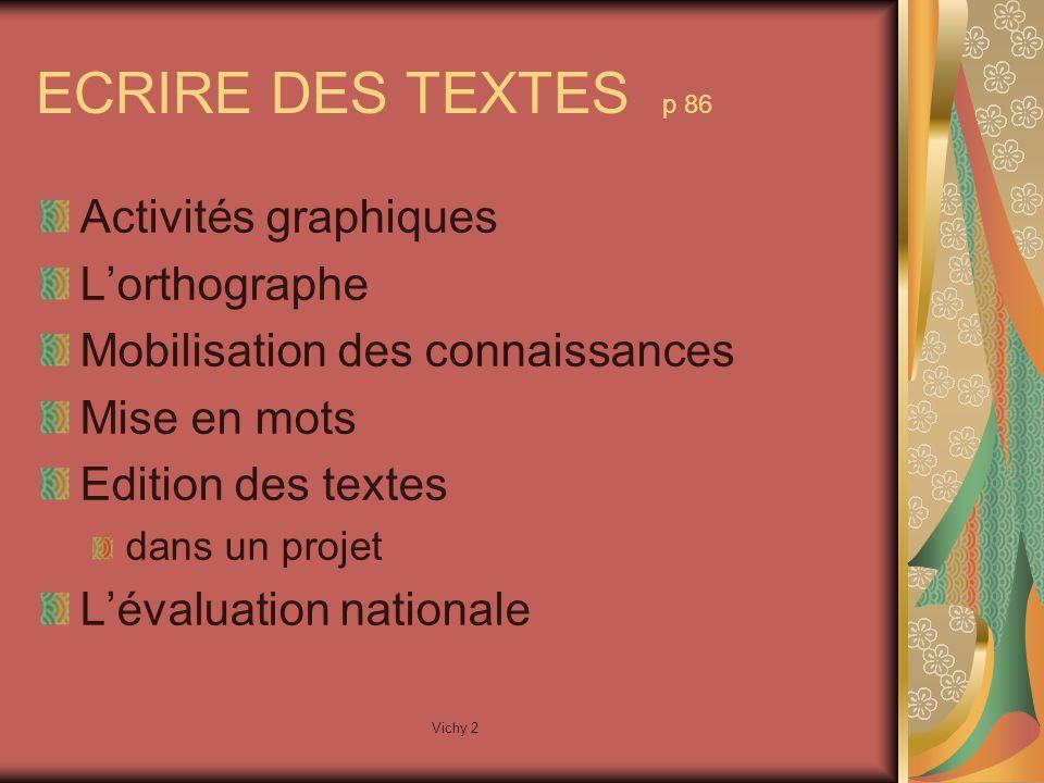Vichy 2 ECRIRE DES TEXTES p 86 Activités graphiques Lorthographe Mobilisation des connaissances Mise en mots Edition des textes dans un projet Lévaluation nationale
