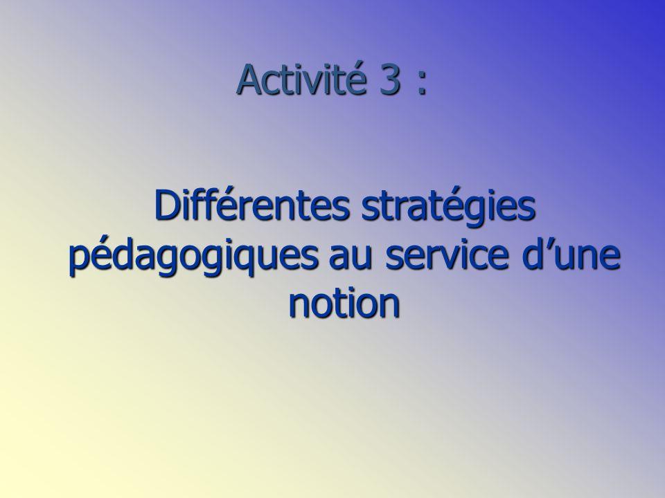 Activité 3 : Différentes stratégies pédagogiques au service dune notion