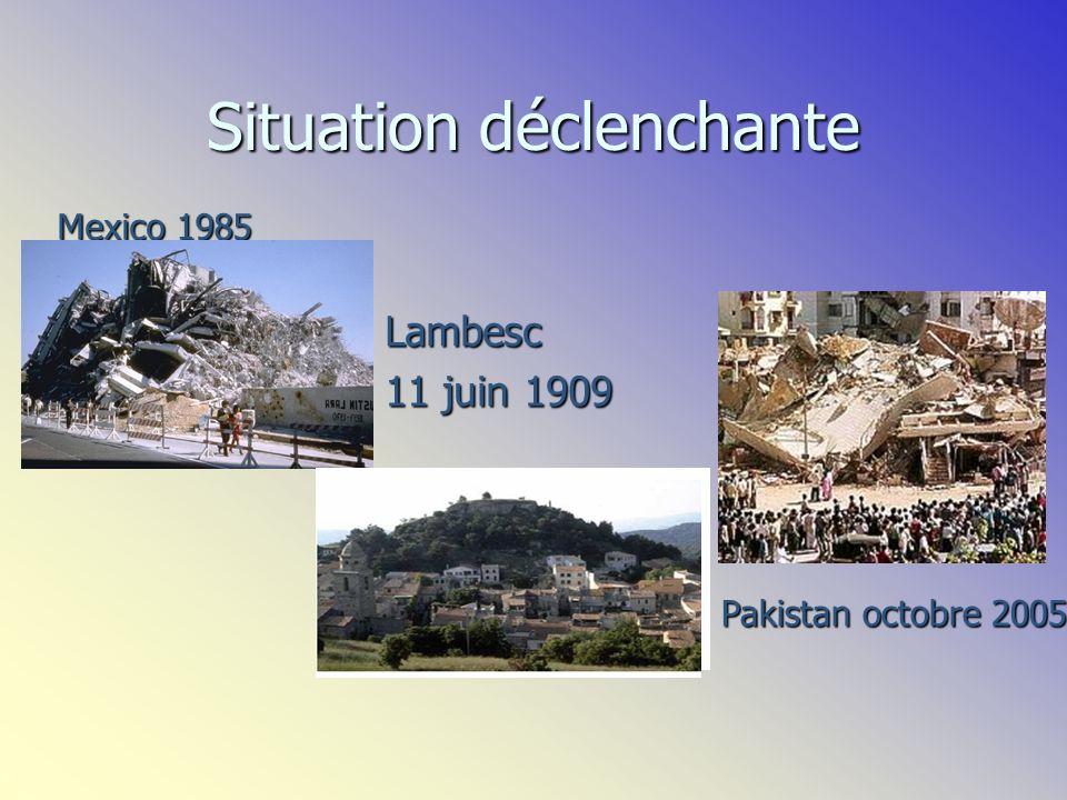 Situation déclenchante Lambesc 11 juin 1909 Mexico 1985 Pakistan octobre 2005