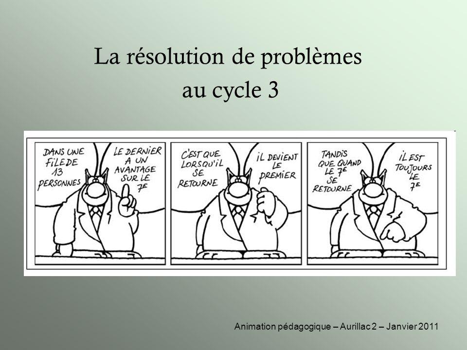 La résolution de problèmes au cycle 3 Animation pédagogique – Aurillac 2 – Janvier 2011