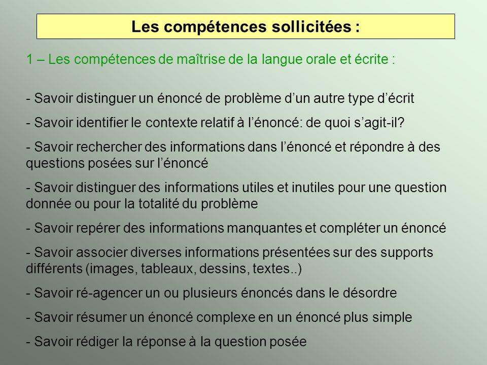 Les compétences sollicitées : 1 – Les compétences de maîtrise de la langue orale et écrite : - Savoir distinguer un énoncé de problème dun autre type