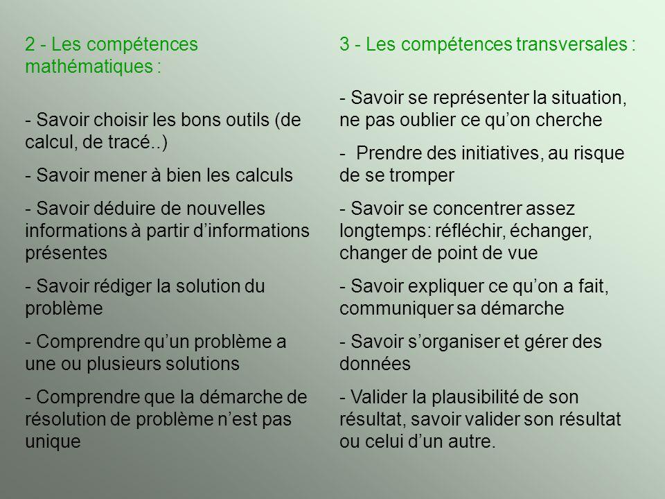 2 - Les compétences mathématiques : - Savoir choisir les bons outils (de calcul, de tracé..) - Savoir mener à bien les calculs - Savoir déduire de nou
