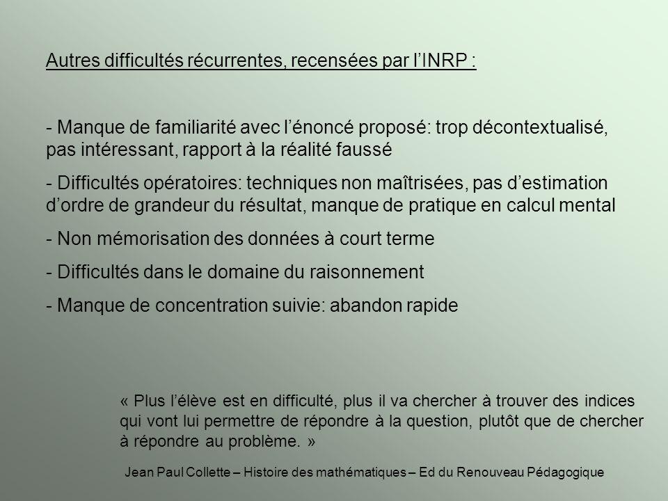 Autres difficultés récurrentes, recensées par lINRP : - Manque de familiarité avec lénoncé proposé: trop décontextualisé, pas intéressant, rapport à l