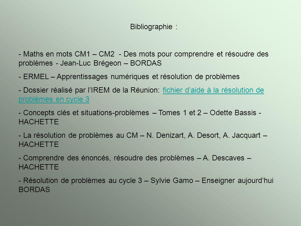 Bibliographie : - Maths en mots CM1 – CM2 - Des mots pour comprendre et résoudre des problèmes - Jean-Luc Brégeon – BORDAS - ERMEL – Apprentissages nu