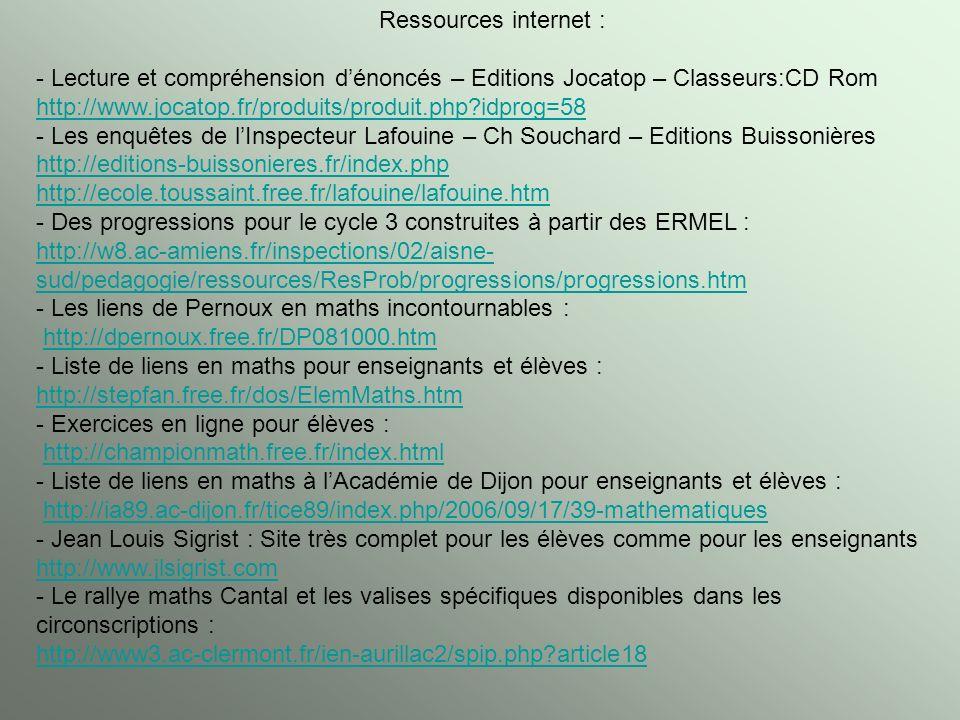 Ressources internet : - Lecture et compréhension dénoncés – Editions Jocatop – Classeurs:CD Rom http://www.jocatop.fr/produits/produit.php?idprog=58 -