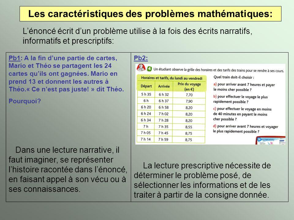 Les caractéristiques des problèmes mathématiques: Lénoncé écrit dun problème utilise à la fois des écrits narratifs, informatifs et prescriptifs: Pb1: