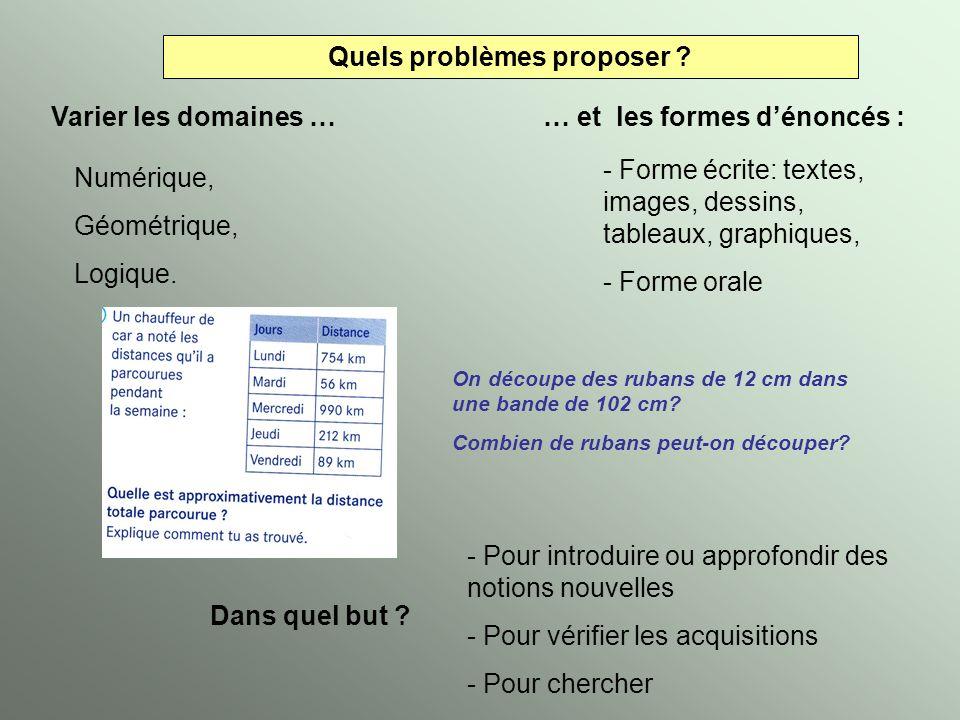 Quels problèmes proposer ? Varier les domaines … Numérique, Géométrique, Logique. … et les formes dénoncés : - Forme écrite: textes, images, dessins,