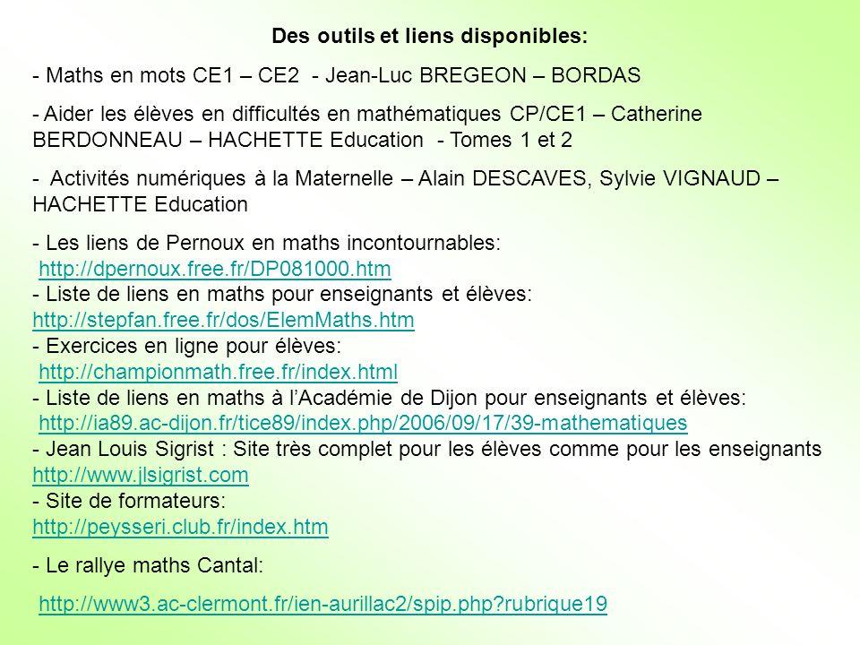 Des outils et liens disponibles: - Maths en mots CE1 – CE2 - Jean-Luc BREGEON – BORDAS - Aider les élèves en difficultés en mathématiques CP/CE1 – Cat