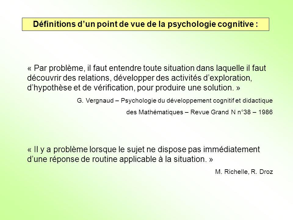 Définitions dun point de vue de la psychologie cognitive : « Par problème, il faut entendre toute situation dans laquelle il faut découvrir des relati
