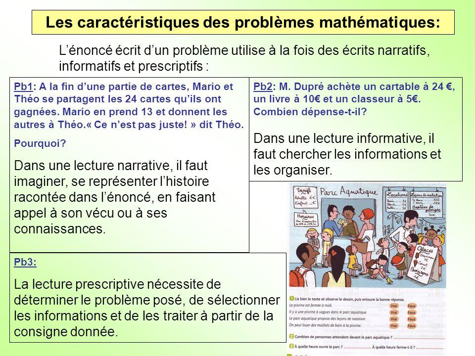 Les caractéristiques des problèmes mathématiques: Lénoncé écrit dun problème utilise à la fois des écrits narratifs, informatifs et prescriptifs : Pb1