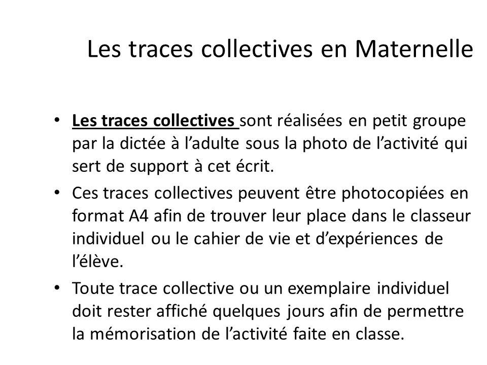 Les traces collectives en Maternelle Les traces collectives sont réalisées en petit groupe par la dictée à ladulte sous la photo de lactivité qui sert