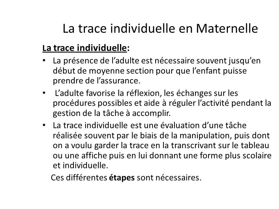 La trace individuelle en Maternelle L a trace individuelle: La présence de ladulte est nécessaire souvent jusquen début de moyenne section pour que le