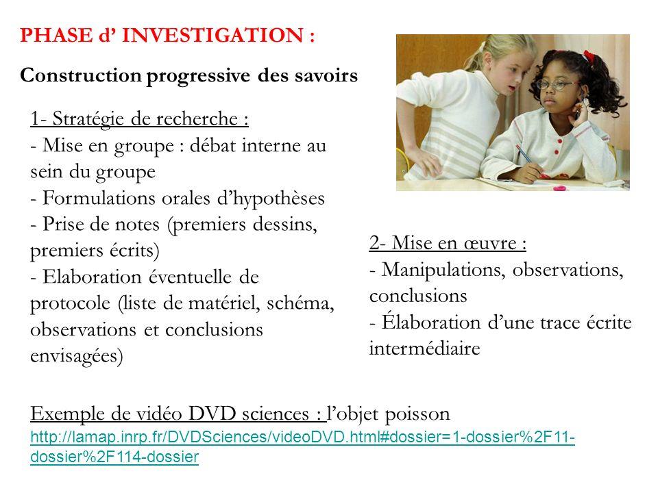 PHASE d INVESTIGATION : Construction progressive des savoirs 1- Stratégie de recherche : - Mise en groupe : débat interne au sein du groupe - Formulat