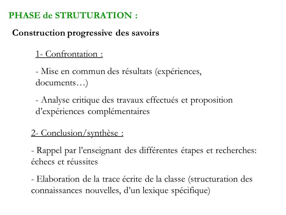 PHASE de STRUTURATION : Construction progressive des savoirs 1- Confrontation : - Mise en commun des résultats (expériences, documents…) - Analyse cri