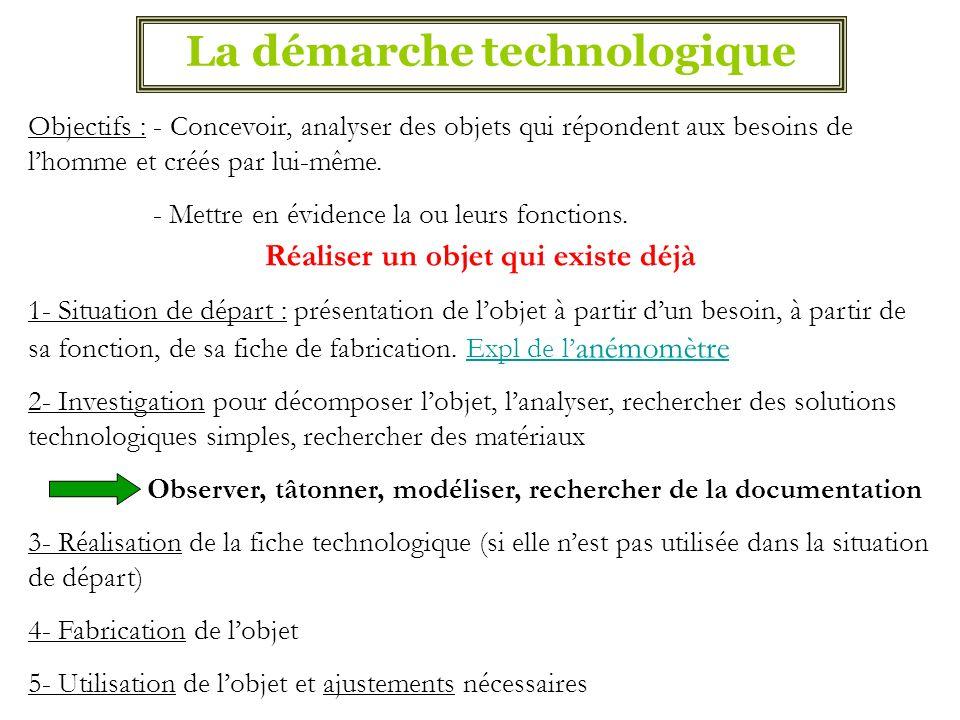 La démarche technologique Objectifs : - Concevoir, analyser des objets qui répondent aux besoins de lhomme et créés par lui-même. - Mettre en évidence