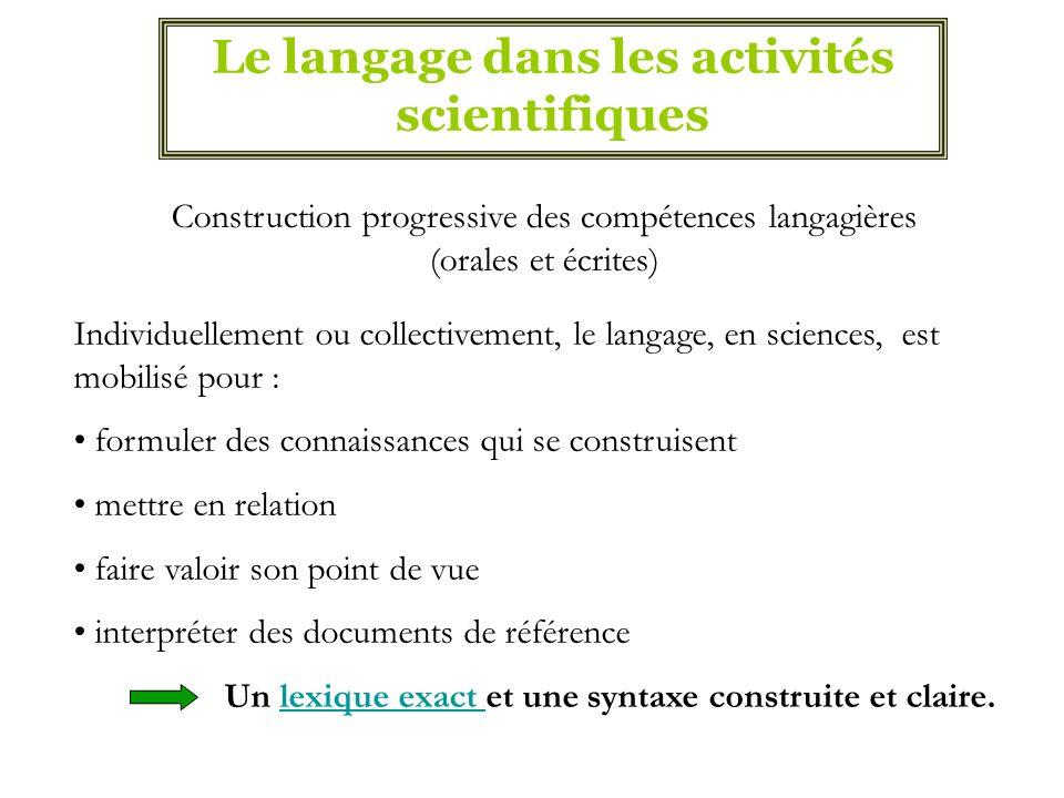Le langage dans les activités scientifiques Construction progressive des compétences langagières (orales et écrites) Individuellement ou collectivemen
