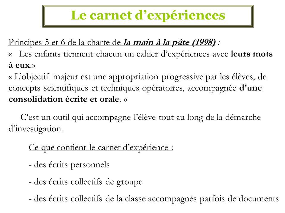 Le carnet dexpériences Principes 5 et 6 de la charte de la main à la pâte (1998) : « Les enfants tiennent chacun un cahier dexpériences avec leurs mot