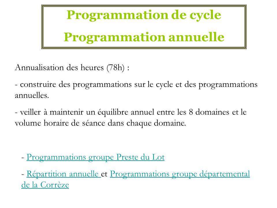 Programmation de cycle Programmation annuelle - Programmations groupe Preste du LotProgrammations groupe Preste du Lot - Répartition annuelle et Progr