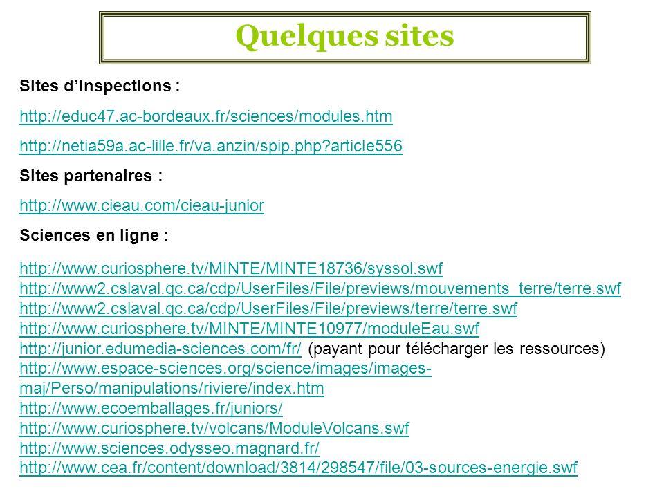 Quelques sites Sites dinspections : http://educ47.ac-bordeaux.fr/sciences/modules.htm http://netia59a.ac-lille.fr/va.anzin/spip.php?article556 Sites p
