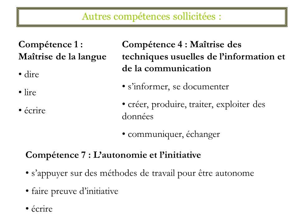 Compétence 1 : Maîtrise de la langue dire lire écrire Compétence 4 : Maîtrise des techniques usuelles de linformation et de la communication sinformer
