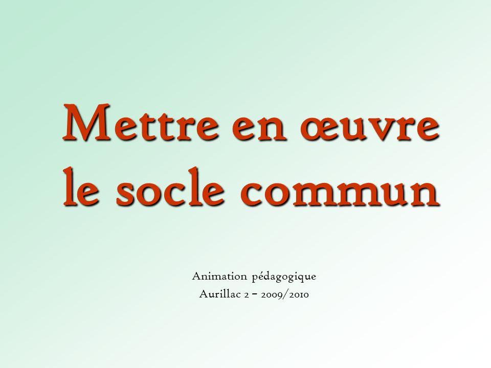 Mettre en œuvre le socle commun Animation pédagogique Aurillac 2 – 2009/2010