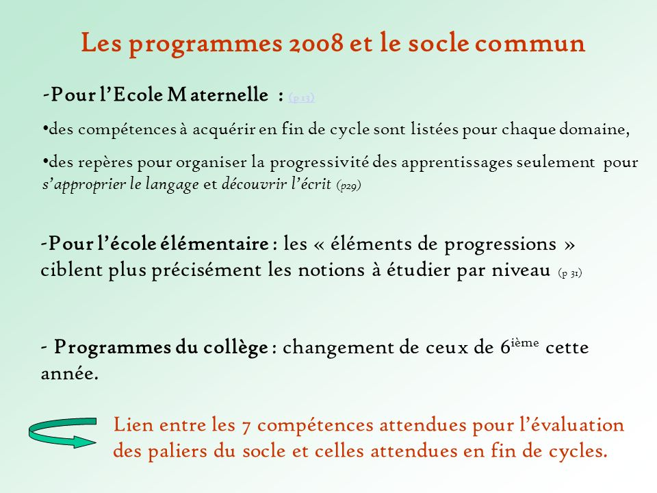Les programmes 2008 et le socle commun -Pour lécole élémentaire : les « éléments de progressions » ciblent plus précisément les notions à étudier par