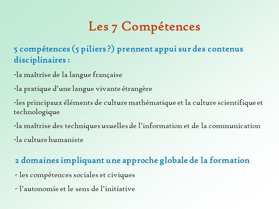 5 compétences (5 piliers ?) prennent appui sur des contenus disciplinaires : -la maîtrise de la langue française -la pratique dune langue vivante étra