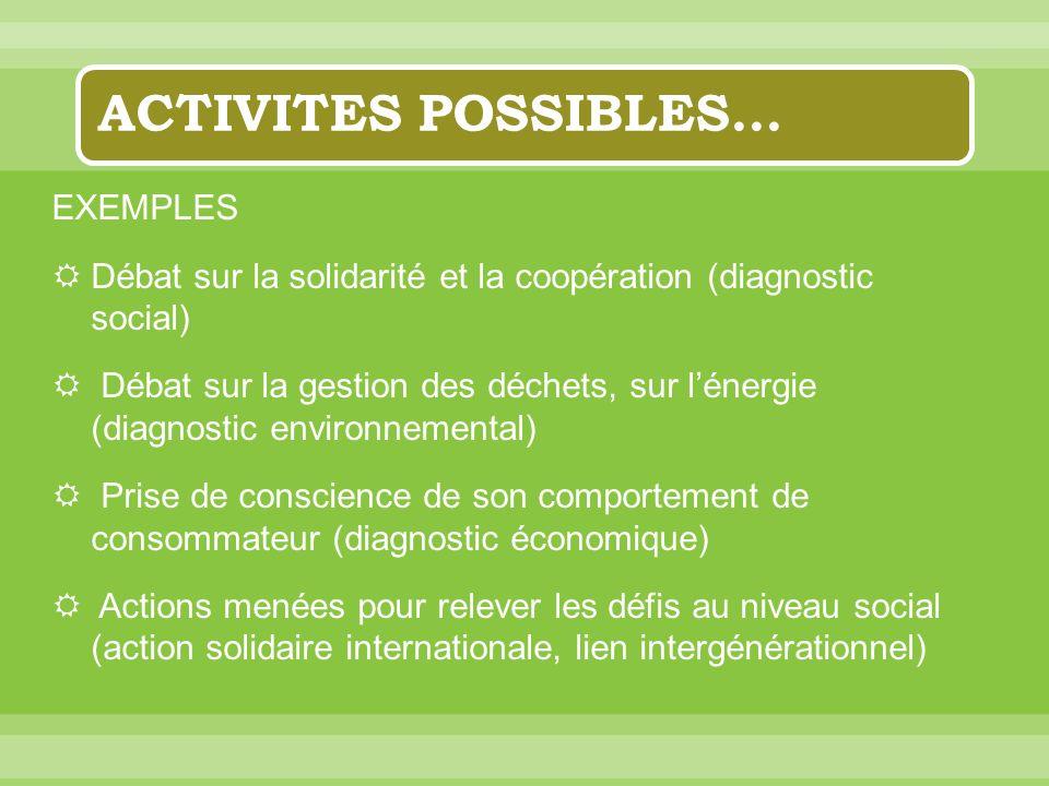 ACTIVITES POSSIBLES… EXEMPLES Débat sur la solidarité et la coopération (diagnostic social) Débat sur la gestion des déchets, sur lénergie (diagnostic