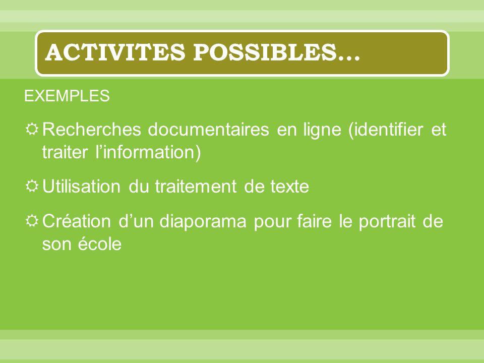 ACTIVITES POSSIBLES… EXEMPLES Recherches documentaires en ligne (identifier et traiter linformation) Utilisation du traitement de texte Création dun d