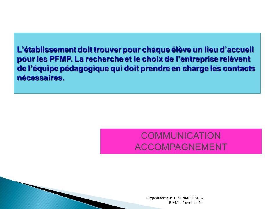 COMMUNICATION ACCOMPAGNEMENT Organisation et suivi des PFMP - IUFM - 7 avril 2010