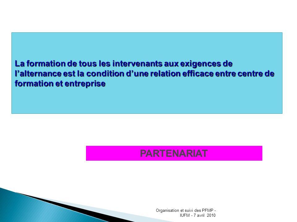 : PARTENARIAT Organisation et suivi des PFMP - IUFM - 7 avril 2010