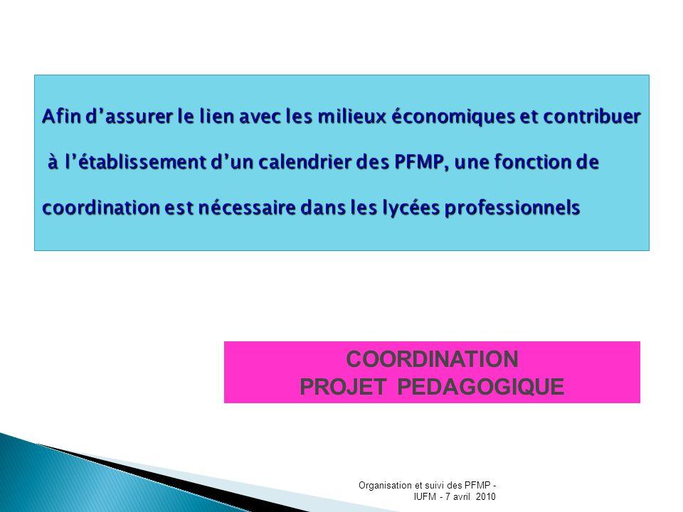 ENCADREMENT - SUIVI Organisation et suivi des PFMP - IUFM - 7 avril 2010