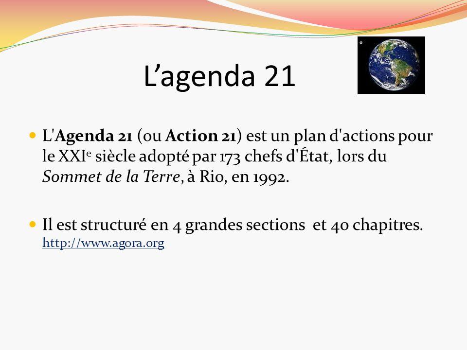 Lagenda 21 L'Agenda 21 (ou Action 21) est un plan d'actions pour le XXI e siècle adopté par 173 chefs d'État, lors du Sommet de la Terre, à Rio, en 19