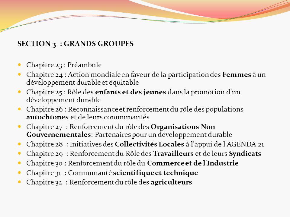 SECTION 3 : GRANDS GROUPES Chapitre 23 : Préambule Chapitre 24 : Action mondiale en faveur de la participation des Femmes à un développement durable e