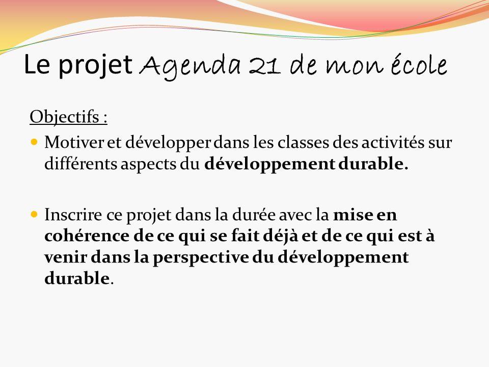 Le projet Agenda 21 de mon école Objectifs : Motiver et développer dans les classes des activités sur différents aspects du développement durable. Ins
