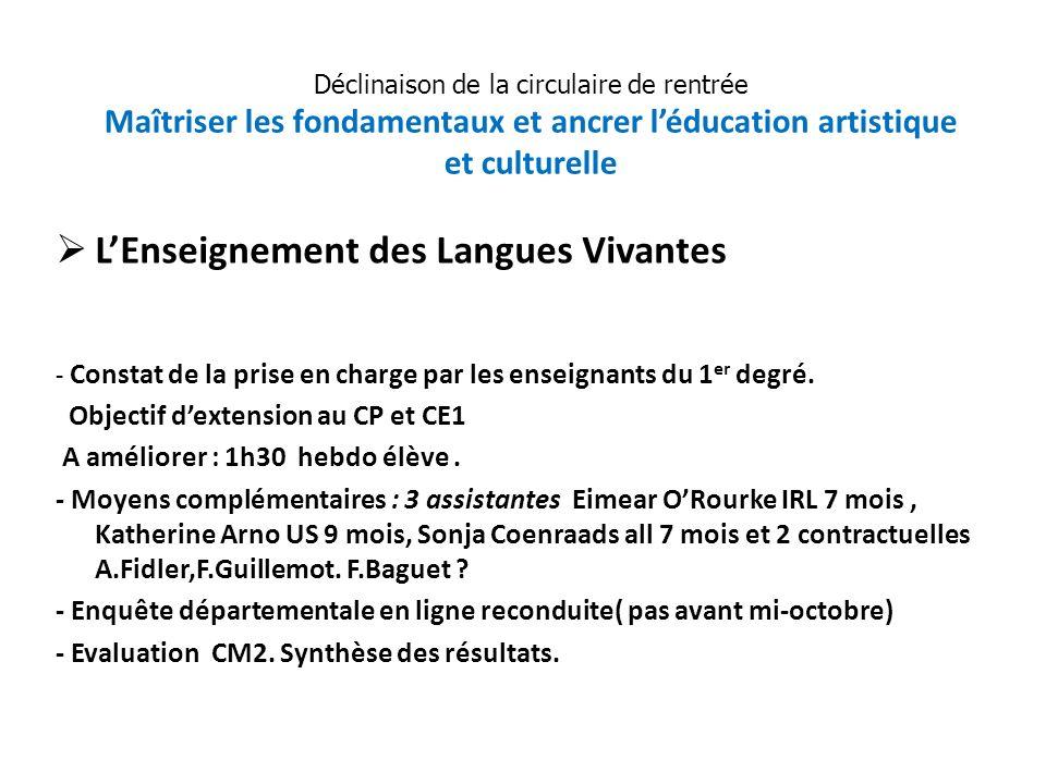 LEnseignement des Langues Vivantes - Constat de la prise en charge par les enseignants du 1 er degré. Objectif dextension au CP et CE1 A améliorer : 1