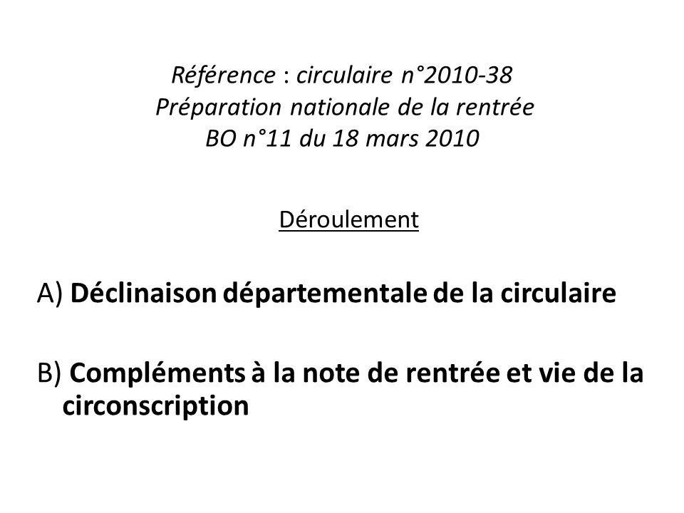 Référence : circulaire n°2010-38 Préparation nationale de la rentrée BO n°11 du 18 mars 2010 Déroulement A) Déclinaison départementale de la circulair