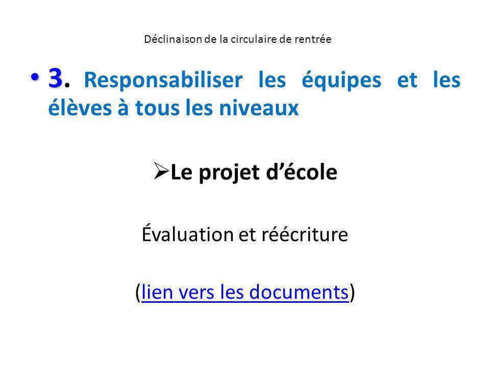 Déclinaison de la circulaire de rentrée 3 3. Responsabiliser les équipes et les élèves à tous les niveaux Le projet décole Évaluation et réécriture (l