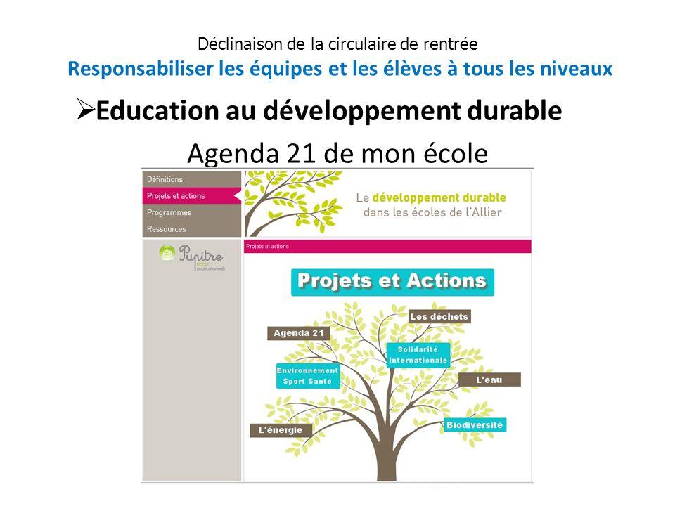 Education au développement durable Agenda 21 de mon école Déclinaison de la circulaire de rentrée Responsabiliser les équipes et les élèves à tous les