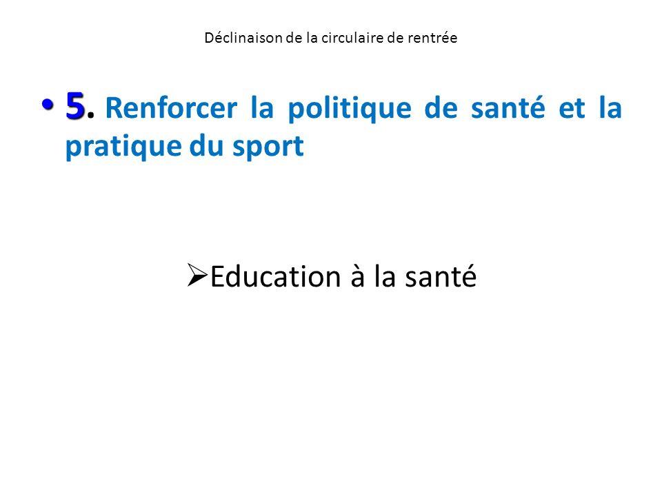 Déclinaison de la circulaire de rentrée 5 5. Renforcer la politique de santé et la pratique du sport Education à la santé