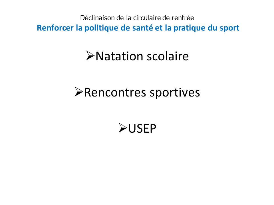 Natation scolaire Rencontres sportives USEP Déclinaison de la circulaire de rentrée Renforcer la politique de santé et la pratique du sport