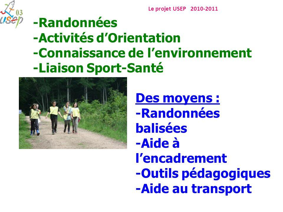 Le projet USEP 2010-2011 -Randonnées -Activités dOrientation -Connaissance de lenvironnement -Liaison Sport-Santé Des moyens : -Randonnées balisées -A