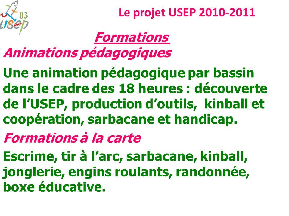 Le projet USEP 2010-2011 Une animation pédagogique par bassin dans le cadre des 18 heures : découverte de lUSEP, production doutils, kinball et coopér
