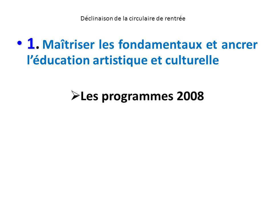 Déclinaison de la circulaire de rentrée 1 1. Maîtriser les fondamentaux et ancrer léducation artistique et culturelle Les programmes 2008